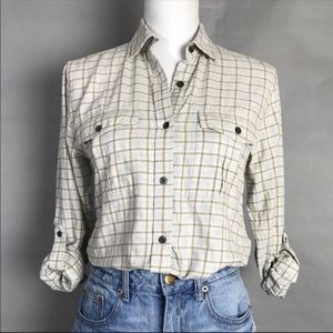 Theory Top Ivory Plaid Long Sleeve Button Shirt